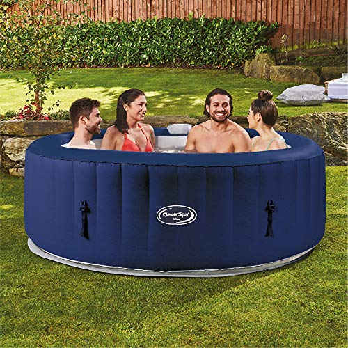CleverSpa Tahoe 800 Liter 70 inch 4 Person Portable Backyard Inflatable Hot Tub Outdoor Spa with Insulated Tub Cover and Filtration Kit Included, Blue
