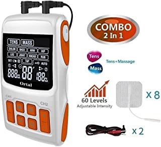 TENS Unit+ Muscle Stimulator+ Pulse Massager, 21 Modes for Pain Relief & Muscle Strength, Level 60 Strength Control,2Channels Output,8 Pads.