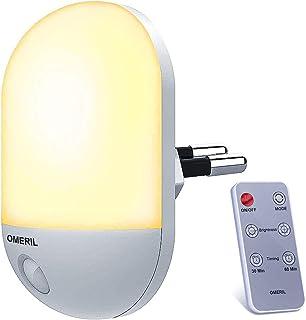 Veilleuse LED avec Télécommande, OMERIL Veilleuse Bébé Minuterie Durée Eclairage 30/60 Min, Lampe Nuit 3 Niveau Luminosit...