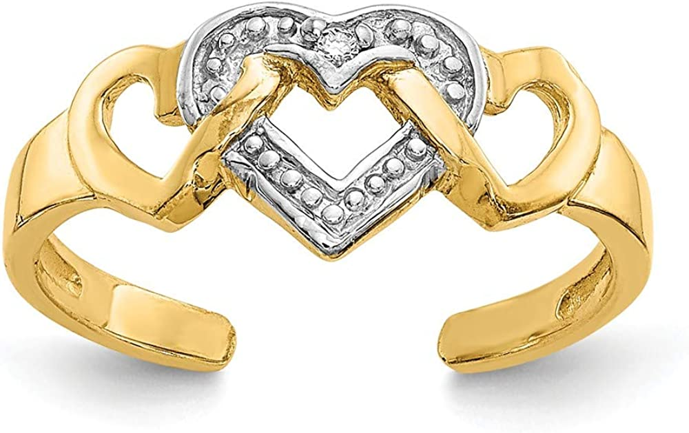 14K Yellow Gold Rhodium Diamond Heart Toe Ring