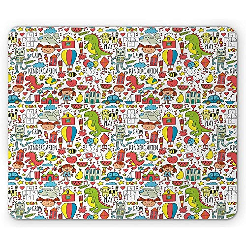 Cartoon Mouse Pad, Dinosaur Watermeloen Kleuterschool Lettering snoepjes Kleine Meisje Kat Kite, Antislip Rubber, 25x30cm Wit