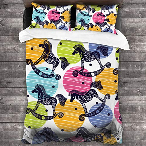 LISNIANY Soft Duvet Cover Quilt Bedding Set With Pillowcases,Rocking Horses,Microfiber quilt 220x240cm