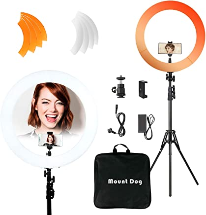 "MOUNTDOG 18""/48cm YouTube Ring Light 55W 5500K Dimmable LED Ringlight Kit with Tripod Stand Circle Lighting for Video Filming Portrait Makeup"