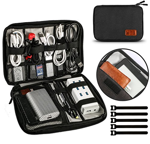 Wire Cable Organiser Bag Universal Travel Bags Organiser Waterproof Electronics Accessories Case for Various Hard Drives Black