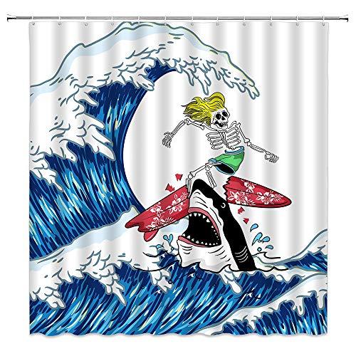 Big Wave Shark Duschvorhang Funny Skull Decor Blue Sea Seichle Skelett Todeskopf Polyester Tuch Gardinen für Badezimmer mit Haken