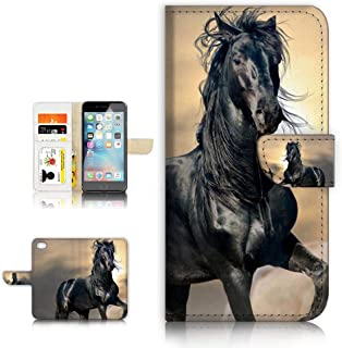 (for iPhone 5 5S / iPhone SE) Flip Wallet Style Case Cover, Shock Protection Design with Screen Protector - B31145 Black Horse