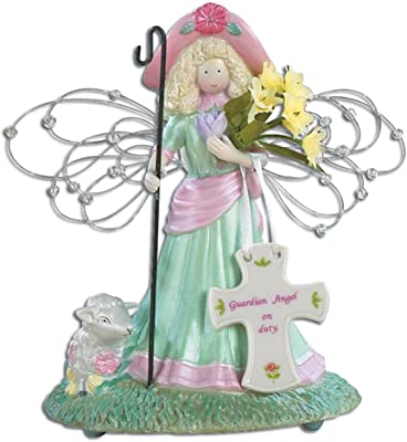 """BANBERRY DESIGNS Guardian Angel Musical Plays Tune You Light up My Life - Message Cross Guardian Angel on Duty - 6.5"""" H"""