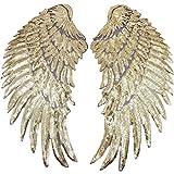 1 par de apliques de alas de lentejuelas, grandes parches de alas de ángel, parche bordado con diseño de alas de ángel para ropa, planchar, coser o hacer manualidades adornos (dorado)
