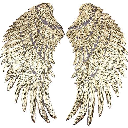 1 par de apliques de alas de lentejuelas, grandes parches de alas...