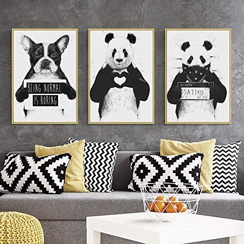 UIOLK Cartel de Animal Blanco y Negro Divertido Colorido Abstracto Pintura de Lienzo de Dibujos Animados nórdicos Pintura de Pared Lindo Panda Perro decoración Moda Cartel Popular