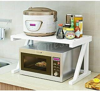 Two 2 Tier Kitchen Shelf Microwave Oven Rack Stand Wooden Condiment Storage Cabinet Organizer