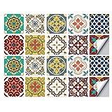 Pegatinas para Azulejos, Autoadhesivas Impermeables Medioambientales Marroquíes Bricolaje Azulejos Transferencias Cerámica Turca Estilo Pegatinas para Cocina Baño Decoración Hogar (10 x 10 cm,A-20PCS)
