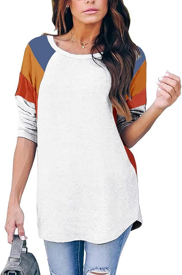 ZC&GF Women's Long Sleeve Casual T Shirt Loose Color Block Tunics Tops Blouses