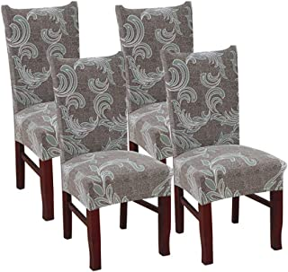 SUBCLUSTER 4 Pcs/Set Premium Chair Cover Set Upgrade Chair Protective Cover Slipcover Universal Stretch Elastic Chair Protector Seat Covers for Dining Room Wedding Banquet Party Decoration (Style 8)