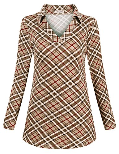 Jazzco Tunics for Women to Wear with Leggings, Ladies Autumn Long Sleeve Shirt Polo Collared Point Misses Tops Loose Casual Business(Beige,Medium)