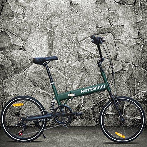 HIKING BK 20-Zoll- Faltrad Stoßdämpfende Off-Road- Anti-Reifen Mountainbike Männliche und weibliche Erwachsene Dame Fahrrad-Grün 152x115cm(60x45inch)