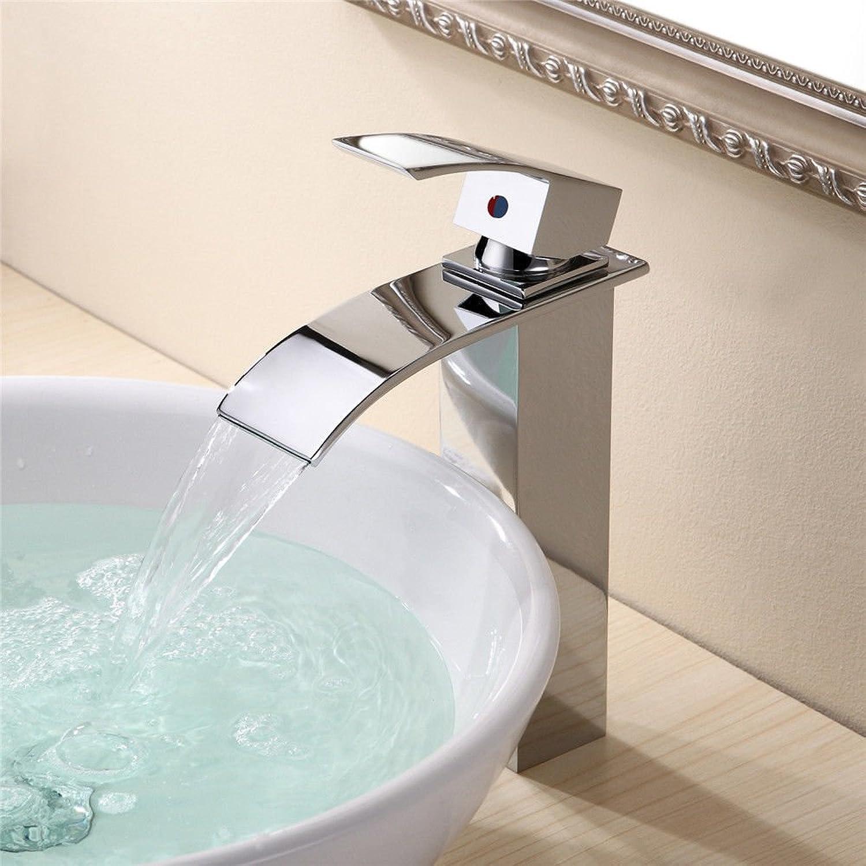 AQMMi Bathroom Sink Faucet Basin Mixer Tap Modern Chrome Brass Waterfall Single Hole Single Lever Basin Sink Tap Bathroom Bar Faucet