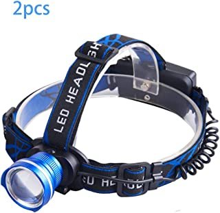 LH Strong Headlamp, Frog Eye 90 Degree Angle Adjust Wide Coverage Long Range, for Camping Hiking and ETC, Battery Not Inclueded(2Pcs)