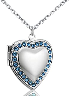 POWER WING Jan-Dec Birthstone CZ Love Heart Locket Necklace That Holds Pictures Living Memory Lockets,18