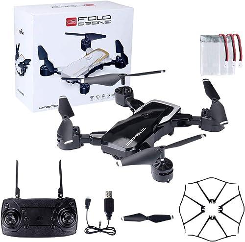 HVBYHF Faltbarer Quadrocopter mit 720P HD-Kamera und einem Knopf zum Abheben Fallen ohne Batterie für die Fernbedienung für Reisevideos,schwarz