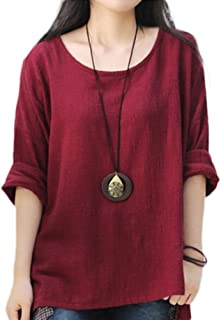 Women's Casual Loose Long Sleeve Round Collar Cotton Linen Shirt Blouse Tops (Size S to XL)