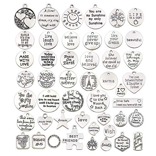 WOCRAFT 80 pcs Inspiration Words Charms Craft Supplies Beads Charms Pendants for Jewelry Making Crafting Findings Accessory for DIY Necklace Bracelet (M384-80pcs)