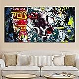 ganlanshu Peinture sans Cadre HD Graffiti Rue Pop Art Mur Abstrait Peinture à l'huile sur Toile Mur Art afficheCGQ6813 40X80cm
