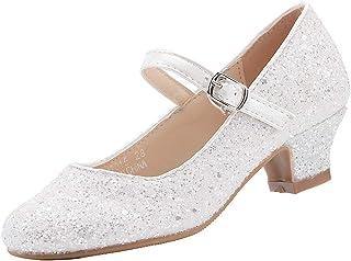 EIGHT KM EKM7015 Girls Mary Jane Low Heel Glitter Formal Dress Pumps Shoes