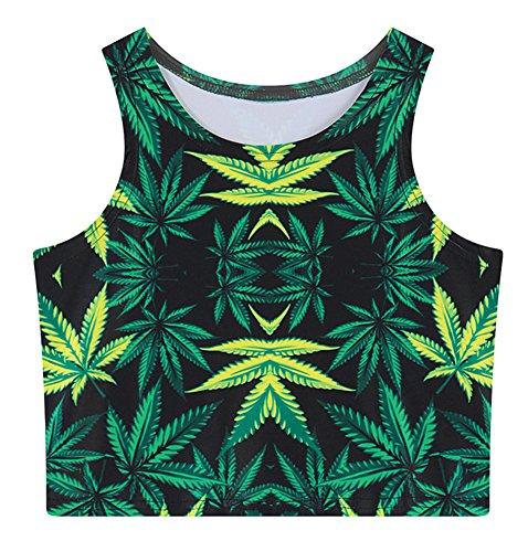 Urban CoCo Women's Multi Digital Printed Crop Vest Tank Tops (Leaf 2)
