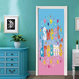 #02931 Door Stickers Self-Adhesive Wall Murals, Kids,Sweet Dreams Colorful Ombre Stars Flowers Clouds Hearts Funny Letters Baby Toddlers Printed Art, Stickers For Home Classroom Decor 30.3X78.7 Inch