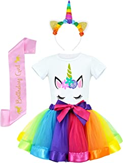 JiaDuo Girls Costume Rainbow Tutu Skirt with White Shirt, Headband & Satin Sash