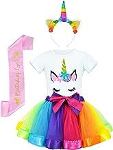 JiaDuo Girls Costume Rainbow Tutu Skirt with Unicorn Shirt, Headband & Satin Sash