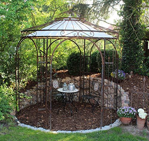 ELEO Milano runder Rosenpavillon mit Sonnensegel und Messingkugel, Ø 2,9 m (Oberfläche: roh / Edelrost)