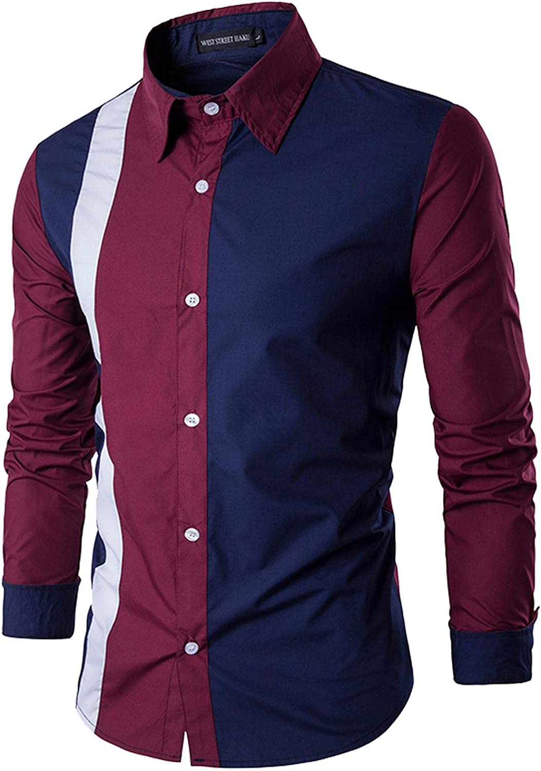 FUNEY Mens Button Down Long Sleeve Shirts Casual Slim Fit Solid Turndown Collar Fashion Patchwork Formal Dress Work Shirt