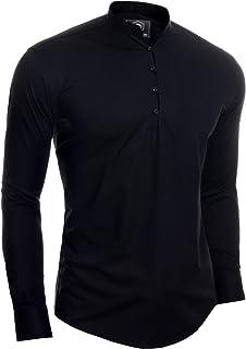 D&R Fashion Mens Henley Long Sleeve Shirt Smart Casual Grandad Collar Button Loops Holiday
