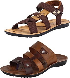 Earton Men's Casual Combo Pack of 2 Canvas Multi-Color Sandal & Floater