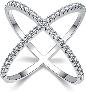 HYLJZ Anello X Shape Cross Ring for Women Rhodium Plated with Zircon Infinite Jewelry Ladies Best Gifts