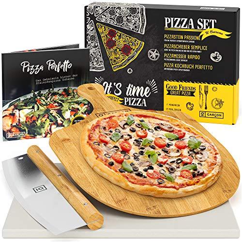 GARCON Pizzastein für Backofen und Gasgrill - 4er Set inkl. Pizza Stone, Pizzaschieber, Pizzaschneider & Kochbuch zum Pizza Backen