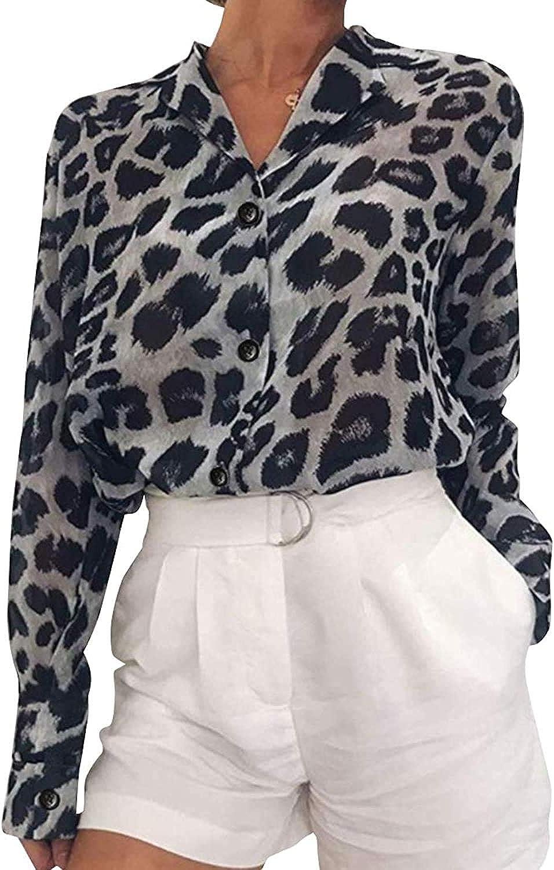 RAMISU Women's Long Sleeve Button Down Shirt Leopard Print Chiffon Blouse Tops