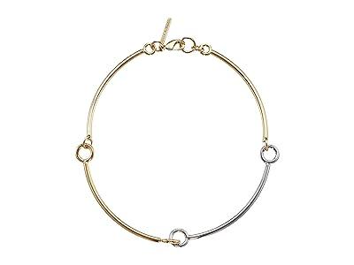 Rebecca Minkoff Interlocking Ring Collar Necklace (Gold/Rhodium) Necklace