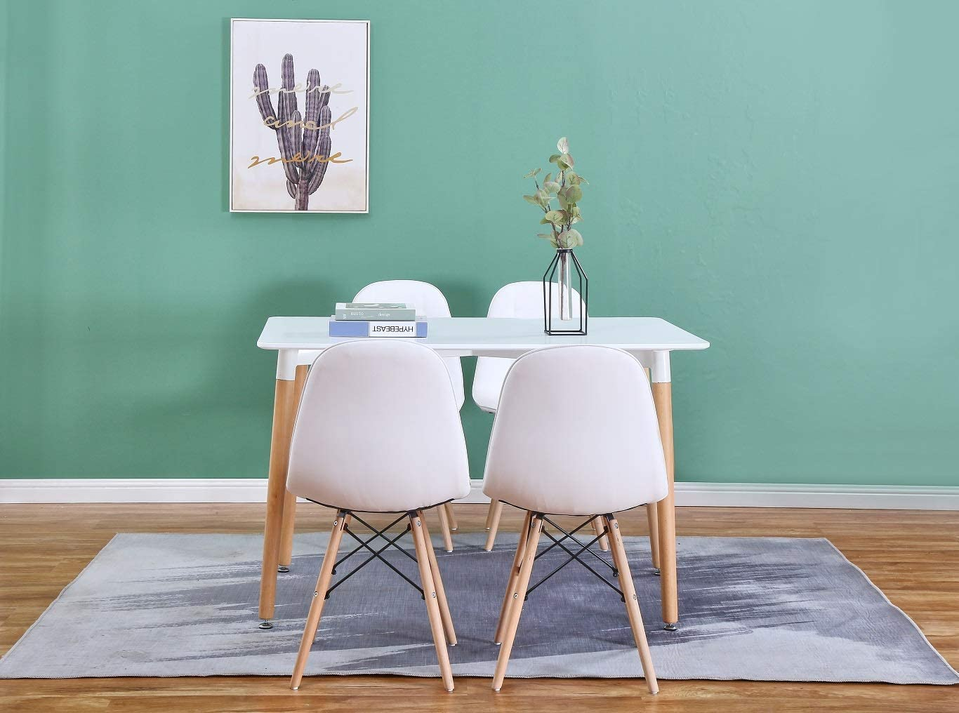 Luckeu Lot de 4 chaises de salle à manger en cuir avec pieds en chêne massif Marron Blanc