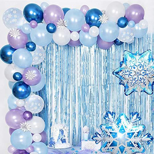 AYUQI Kit de Guirnalda de Globos Blanco y Azul y Púrpura Copos de Nieve Decoracion Cumpleaños Globos para Despedida de Soltera Fiesta de Cumpleaños Aniversario Graduación Centro Decoración de Fondo