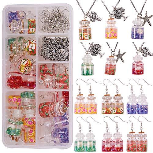 SUNNYCLUE 12 Sets Collares DIY Pendientes Kit de fabricación de Joyas 28-29ml Mini frascos de Vidrio minúsculos Botellas con Tapones de Corcho Botellas de Deseos Transparentes Colgante con Purpurina