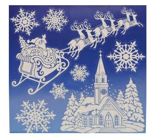 alles-meine.de GmbH 8 TLG. Set Fensterbild - Weihnachtsmann Schnee Weihnachten Glitter Glitzer - Sticker Fenstersticker / Fensterbilder