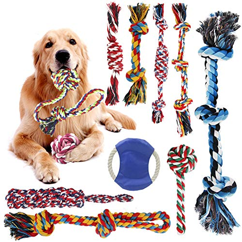 Dog Rope Toys, pingqian 11PCS Dog Toys for Small/Medium/Large Dog and Aggressive Chewers Puppy Chew Toys for Prevents Boredom Relieves Stress and Teeth Cleaning