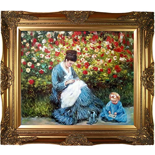 La Pastiche Camille Monet and a Child in The Artist's Garden in Argenteuil with