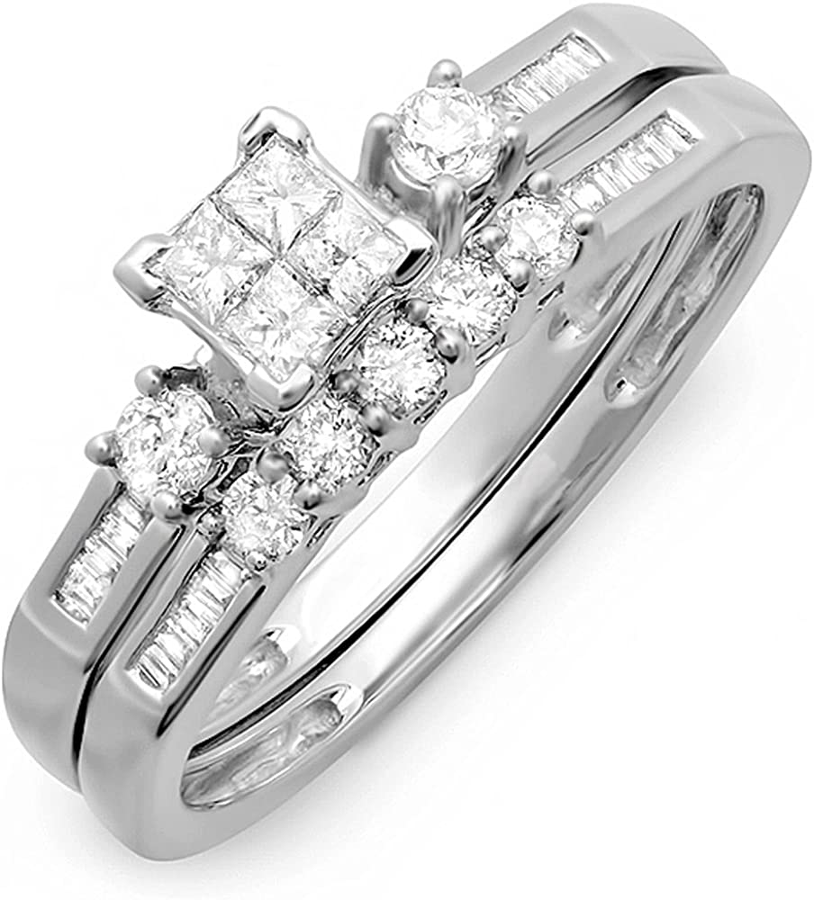 Dazzlingrock Collection 0.60 Carat (ctw) 10k Princess, Baguette & Round Diamond Ladies Bridal Ring Engagement Set, White Gold