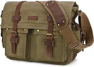 Kattee Military Messenger Bag Canvas Leather Shoulder Bag Fits 14.7/15.6 Inch Laptop