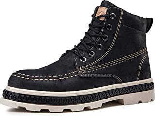 PengCheng Pang Work Boot for Men High Top Ankle Boot Lace up Faux Leather Round Toe Stitching Platform Pull Tab Two Tones Wear-Resisting (Color : Black, Size : 6.5 UK)