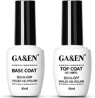 Nail Art Soak Off Base Coat + No Wipe Top Coat Set 10ml/Bottle UV/LED Lamp Cure Quick Dry..